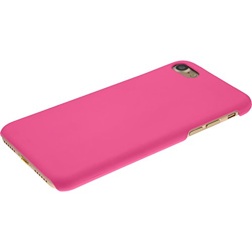 PhoneNatic Case für Apple iPhone 7 Hülle rot gummiert Hard-case für iPhone 7 + 2 Schutzfolien Pink