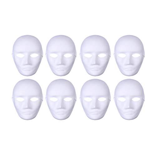 Artibetter 8 stücke Weiße Masken Kunststoff Vollgesichtsdekoration Handwerk Halloween Schule (Männliches Gesicht)