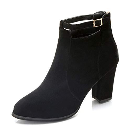 Stivaletti con tacco alto donna eleganti,homebaby scarpe da donna calzature calde moda scarpe autunno inverno lace up stivaletti donna basse cuneo soft pelle
