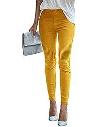 Femmes Casual Mode Pantalons Crayon Jeggings Leggings Couleur Unie Élastique  Taille Haute Skinny Stretch Slim Fit 17335e90b0d