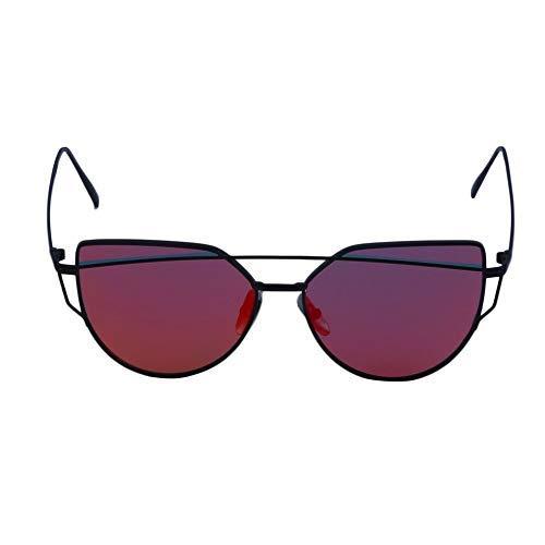 WUQIAN Reflektierende Uv-Schutz Katzenauge Damen Sonnenbrille Stern Sommerferien Schwarzer Rahmen Rote Quecksilberlinse