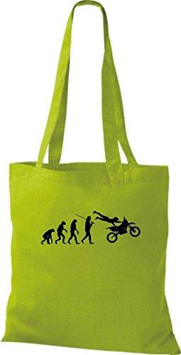 ShirtInStyle Stoffbeutel Jute Evolution Motorrad Biken Stunt Freebike Biker diverse Farbe kiwi