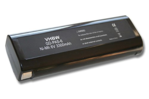 vhbw Ni-MH Akku 3300mAh (6V) für Elektrowerkzeuge Paslode IM250, IM250A, IM300, IM325, IM350A, IM350ct wie 404400, 404717, B20544E.