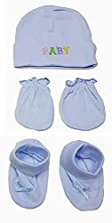 132 New Born Baby Premium Quality Cotton Cap, Mittens and Socks   0-6 Months (Purple)