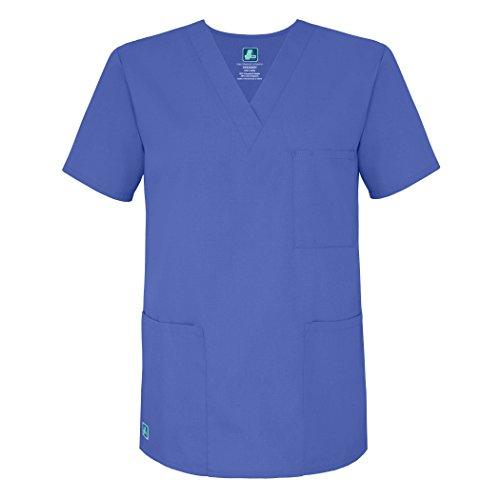 Adar Universal Unisex V-Neck Tunic Top 3 Pockets - 601 - Ceil Blue - L