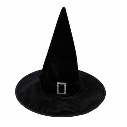 VORCOOL Hallowen Velour Hexe Zauberin Hut Kostüm Party Kostüm Zubehör (Schwarz) -