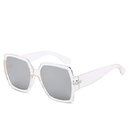 Yangjing-hl Brillenmode Sonnenbrillen weiblich wild Big Box Square Sonnenbrille transparent Rahmen weiß