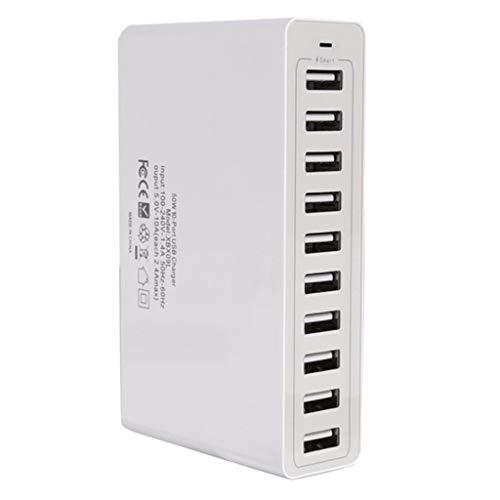 12shage USB 10 Port 50W Ladestation Hub Wechselstrom Schnellladung für Smartphone Tablet - Tabs Ac