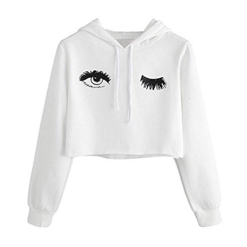 Womens Hoodie Tops,OYSOHE Auge gedruckt Sweatshirt Langarm Pullover Bluse (S, Weiß) (Gestreifte Hoodie Top)