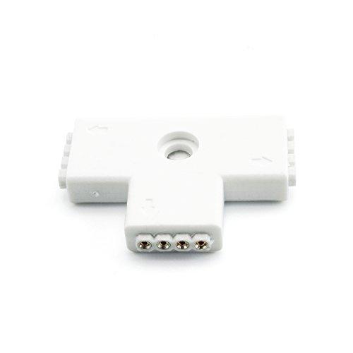 weiße T-Verbinder Verbindungen Schnellverbinder für LED Streifen RGB 4 polig T-Verbindung ohne Löten