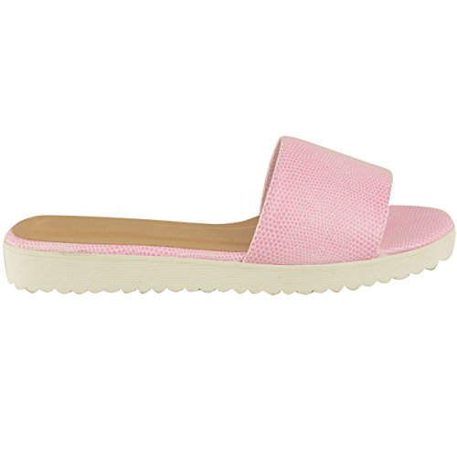 Damen-Sandalen, Flip-Flops für Sommer & Strand, Plateau, Größenauswahl Pink Lizard