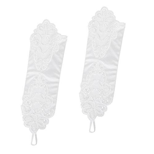 Satin fingerless Ellbogen Länge Stickerei Braut- / Abend / Partei Handschuhe style 015 (Satin-abend-handschuhe Länge Ellenbogen)