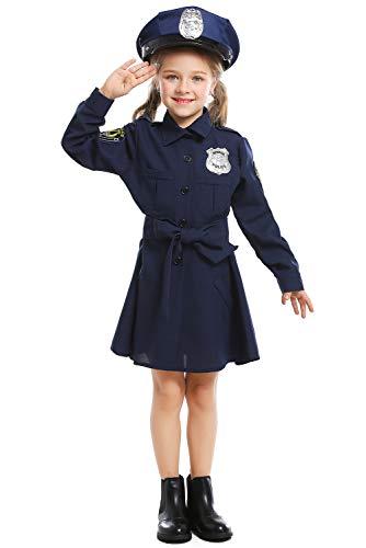 Polizei Deluxe Kostüm Dress Up - Deluxe Polizei Dress Up Kostüm Set für Kinder Mädchen Verkleidung Faschings Polizistin Kleid Kostüm Cosplay Blau XS