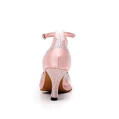 XIAMUO Women's Dance Schuhe Satin Latin/Salsa Sandalen Strass angepasste Ferse Innen-/Leistung Schwarz/Rosa/Lila Lila
