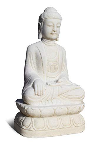 Asien Lifestyle Garten-Buddha Statue Marmorstein (81cm) Garten Yoga Figur