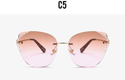 Rosa Vintage Tee (KONGYUER Sonnenbrillen, Brillen,Tee Rosa Vintage Kristall Randlose Sonnenbrille Frauen Luxusmarke Gradienten Sonnenbrille Retro Mode Cat Eye Sonnenbrille Uv400)