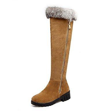 Rtry Femmes Chaussures Nubuck Cuir Hiver Mode Bottes Bottes Talon Bas Bout Rond Cuisse-haute Bottes Pour Vêtements De Sport Marron Jaune Gris Noir Us8.5 / Eu39 / Uk6.5 / Cn40
