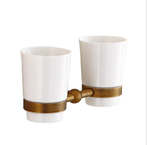 BFDMY Retro Zahnbürste Becherhalter Keramik Doppel Cup-Halter Zahnbürstenhalter Wandmontage Antik Messing Badezimmer Zubehör,Antiquetoothbrushcupholder Doppel-cup