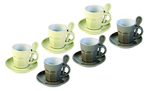 Contento 671762 Intermezzo 6-er Espresso-Set mit Löffel und Untertasse, Keramik thumbnail