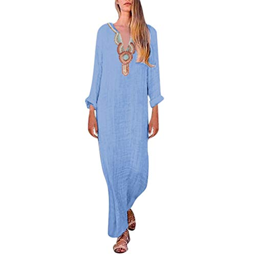 LILIHOT Langärmliges Maxikleid mit V-Ausschnitt und Schlitzsaum für Frauen Baggy Kaftan Long Dress Damen Kleider Langarm Casual Lange MaxiKleid Strandkleid Sommerkleider -