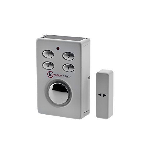 KOBERT GOODS - SP65 WEIß drahtloser Tür-, Fenster- oder Vitrinenalarm, Einsatz als Alarmanlage, Einbruchsschutz, Home-Security Mit PIN-Code-Eingabe, Magnet/Vibrationssensor sowie 130 db-Sirene