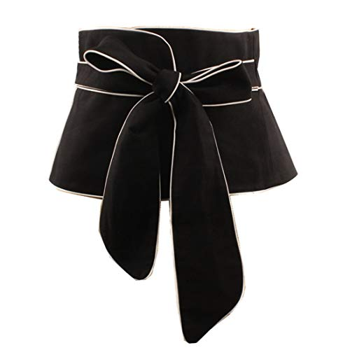 Y-WEIFENG Gürtel Bund für Kleid Jacke Windjacke koreanische Version Frauen Herbst Winter Gürtel ` (Farbe : Schwarz) (Jacke Schwarzes Frauen Kleid)