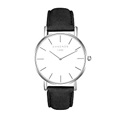 Unisex Uhren Groß Runde Quarzwerk Damenuhren Herrenuhren für Damen und Herren Leder Metall Klassisches, Schwarz-Silber