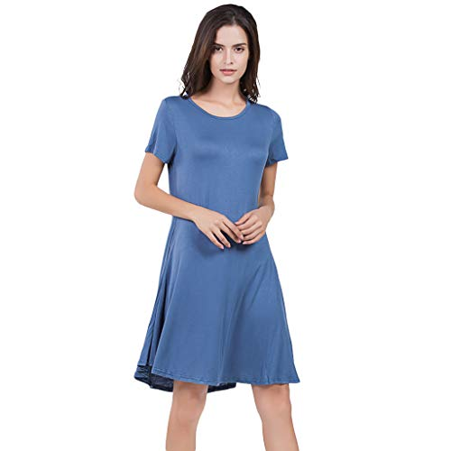 VJGOAL Kleider Damen Sommer Einfarbig Klassisch Grosse Grössen Lässig Kurzarm Party Mini Dresses for Women (Marine,L) (Dress Damen-barbie Fancy)