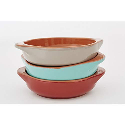 Jamie Oliver - Al Forno - Auflaufform, Gratinform, Backform - Ø: 14 cm - Terrakotta - 3-farbig - 3er-Set - Rot Blau Grau