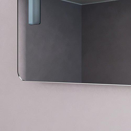 NEG Badspiegel MITRA 80x60cm (HxB) Spiegel (abgerundet) mit integrierter und energiesparender LED-Beleuchtung (warmweiß 3000 Kelvin) IP44 -
