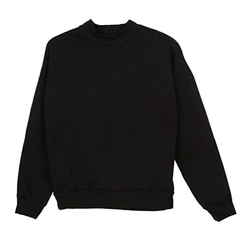 KanLin Damen Plus Size Sweatshirt, Long Sleeve Crop Pullover Wildleder Pullover Tops (S, Black)