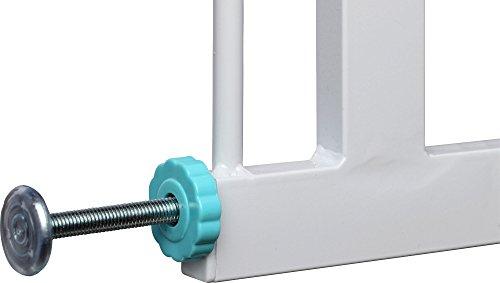 IB-Style - BERRIN Treppengitter / Türgitter zum Klemmen | Erweiterbar durch Verlängerungen | 75 - 175 cm | Auto-Close - automatisches Schließen | Tür mit 90° Stop-Funktion | Einhand-Bedienung | Öffnen in beide Richtungen möglich | Metall Weiß-Türkis | Spannbreite 85 - 95 cm - 5
