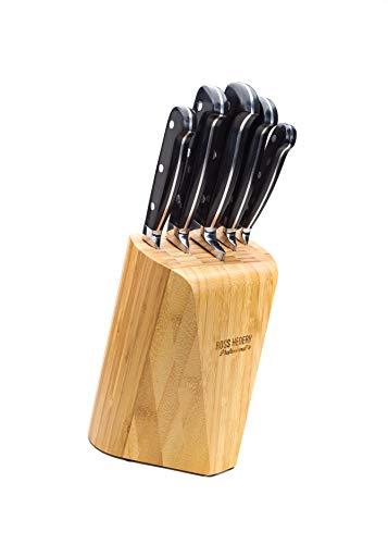 Ross Henery Professional 5-teiliges Edelstahl Full Tang Küchenmesser-Set mit besonders stilvollem, massivem Bambus-Holzblock