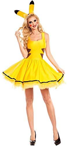 Xyfw Pikachu Damen Kostüm sexy Petticoat Kleid und Haarreif mit Ohren Pokemon,XL