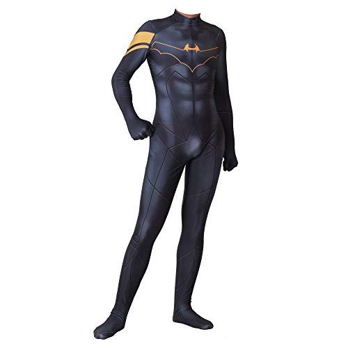 Für Kostüm Jugendliche Batman - WEGCJU Batman Kostuum Kostüm Halloween Kostüm Overall Outfit Halloween Arty Kostüm Für Erwachsene,Black-XXXL
