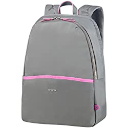 "SAMSONITE Nefti - Backpack 14.1"" Mochila Tipo Casual, 41 cm, 15 Liters, Gris (Rock Grey/Fuchsia)"