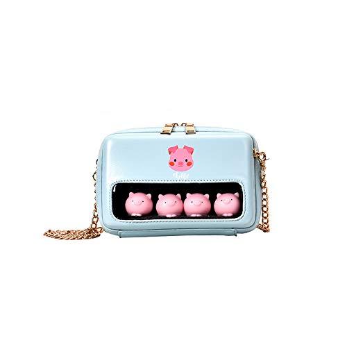 Persönlichkeit Kette niedlichen Schwein Schulter umwickelt transparent kleine quadratische Tasche Handtasche blau 18 * 13 * 7cm