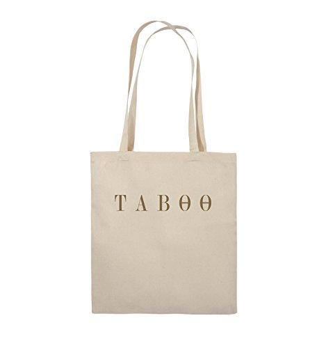 Comedy Bags - TABOO - LOGO - Jutebeutel - lange Henkel - 38x42cm - Farbe: Schwarz / Silber Natural / Hellbraun