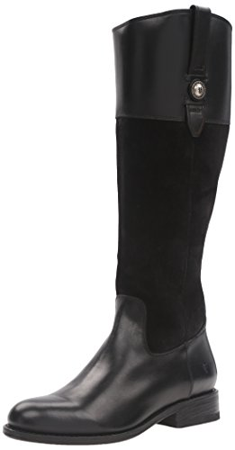 FRYE Women's Jayden Button Tall Leather and Suede Riding Boot, Black, 8.5 M US (Boot Suede Black Tall)