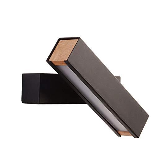 Applique,Applique da parete a LED in legno massello nordico da 10 watt con pulsante, lampada da comodino girevole per camera da letto rotante - nera
