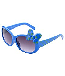 The Blue Pink Uv Protected Butterfly 5 to 8 kids Girls Oval Sunglasses (BUT-1201 Black Lens)