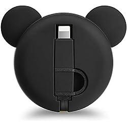 Câble de Chargement Multi, Eary Câbles USB rétractables IP & Micro USB Câble de Chargement Rapide 2 en 1 Câble de données 3.3ft / 1m pour iPhone, Samsung Galaxy, Google, LG, HTC