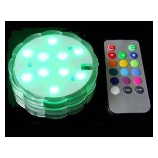 Acmee?LED Color Change Submersible Wedding Party Light Base Vase 10 Tricolor Led's Per Base Remote Controllable (Pack of 4) by Acmee