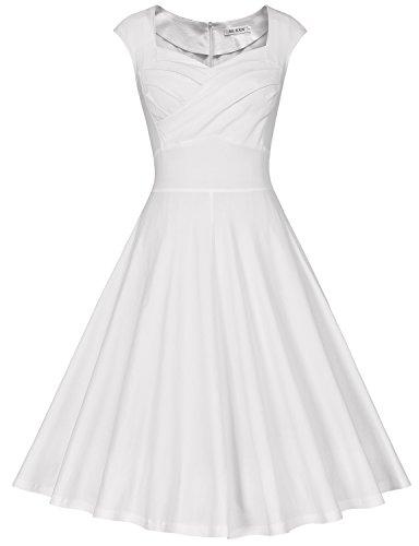 MUXXN Damen Retro 1950er Kleider Swing Kleid Vintage Rockabilly Kleid Partykleid Cocktailkleid(L,...