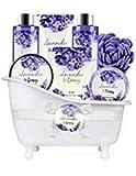 Bade Geschenkset, Body & Earth 8-teiliges Badeset mit Lavendel- und Honigduft - Inklusive Schaumbad,...