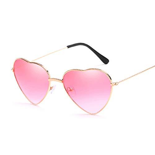 Kjwsbb Herzförmige Sonnenbrille Frauen kleine Größe Dame Metall reflektierende Krawatten rote Sonnenbrille weibliche UV400