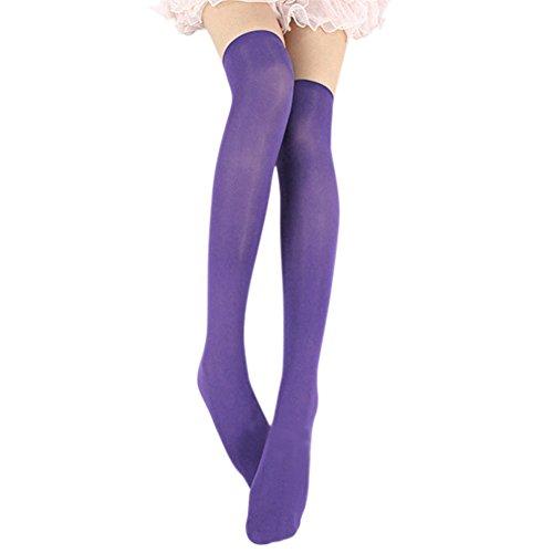 Esbelle Damen halterlose Strümpfe über Knie-Lang Kniestrümpfe Socke Frauen Strumpfhose Bunt (Lila) (Strumpfhosen Knie-länge)