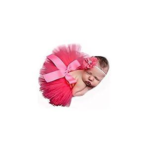 Rojo, recién nacido bebé Tutu Ropa Falda Tocado Flor Fotografía Fotografía Traje de apoyo 12