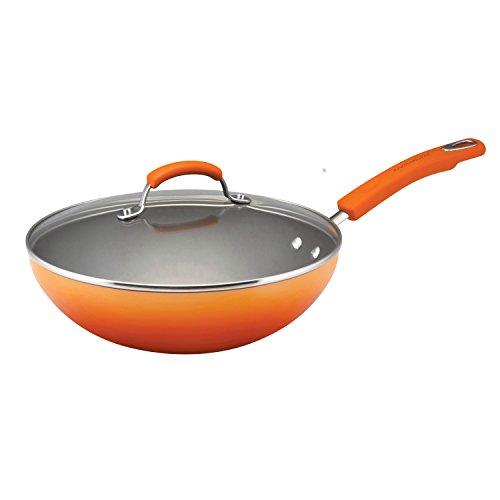 Rachael Ray Porcelain Enamel II Nonstick 11-Inch Covered Stir Fry, Orange Gradient