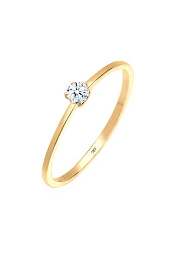 Diamore Ring Damen Solitär Verlobung mit Diamant (0.10 ct.) in 585 Gelbgold